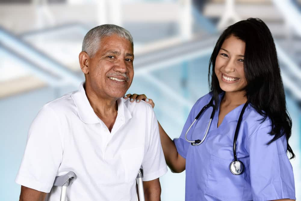 Smiling therapist and patient